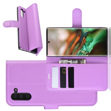 Флип чехол книжка с кошельком подставкой отделениями для карт и магнитной застежкой для Samsung Galaxy Note 10 Фиолетовый цвет