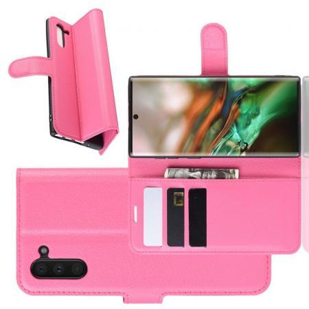 Флип чехол книжка с кошельком подставкой отделениями для карт и магнитной застежкой для Samsung Galaxy Note 10 Розовый