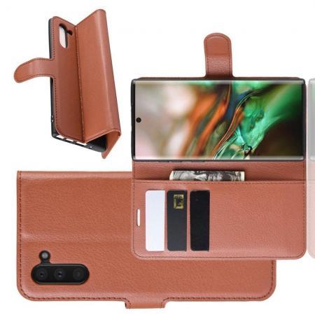Флип чехол книжка с кошельком подставкой отделениями для карт и магнитной застежкой для Samsung Galaxy Note 10 Коричневый