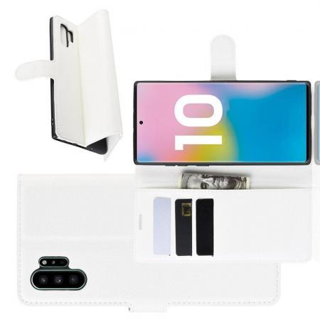 Флип чехол книжка с кошельком подставкой отделениями для карт и магнитной застежкой для Samsung Galaxy Note 10 Plus Белый