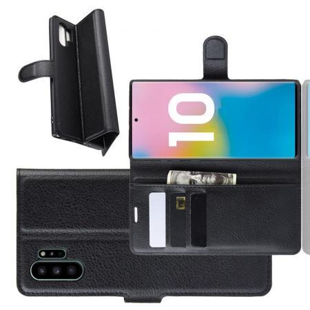 Флип чехол книжка с кошельком подставкой отделениями для карт и магнитной застежкой для Samsung Galaxy Note 10 Plus Черный