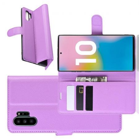 Флип чехол книжка с кошельком подставкой отделениями для карт и магнитной застежкой для Samsung Galaxy Note 10 Plus Фиолетовый