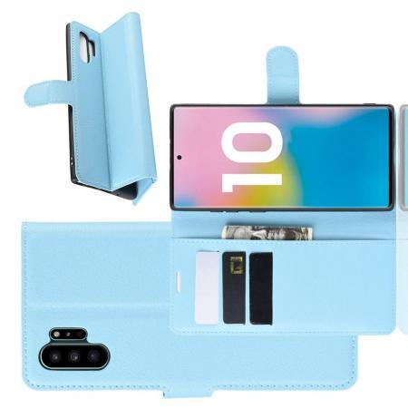 Флип чехол книжка с кошельком подставкой отделениями для карт и магнитной застежкой для Samsung Galaxy Note 10 Plus Голубой