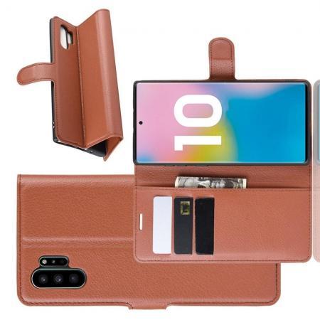 Флип чехол книжка с кошельком подставкой отделениями для карт и магнитной застежкой для Samsung Galaxy Note 10 Plus Коричневый
