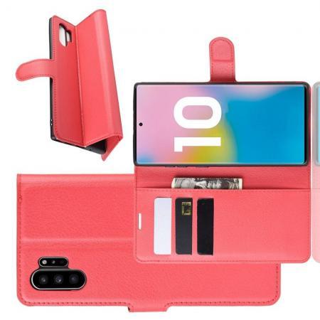 Флип чехол книжка с кошельком подставкой отделениями для карт и магнитной застежкой для Samsung Galaxy Note 10 Plus Красный