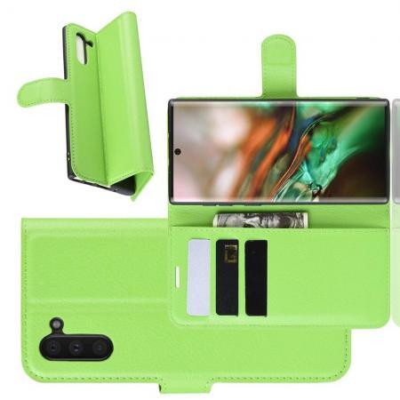 Флип чехол книжка с кошельком подставкой отделениями для карт и магнитной застежкой для Samsung Galaxy Note 10 Зеленый