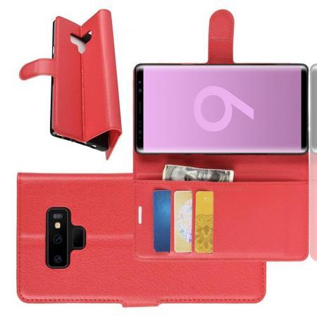 Флип чехол книжка с кошельком подставкой отделениями для карт и магнитной застежкой для Samsung Galaxy Note 9 Красный