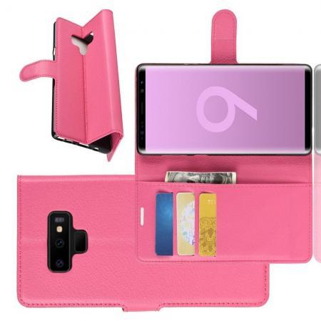 Флип чехол книжка с кошельком подставкой отделениями для карт и магнитной застежкой для Samsung Galaxy Note 9 Розовый