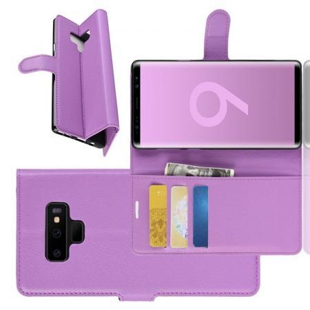 Флип чехол книжка с кошельком подставкой отделениями для карт и магнитной застежкой для Samsung Galaxy Note 9 Фиолетовый