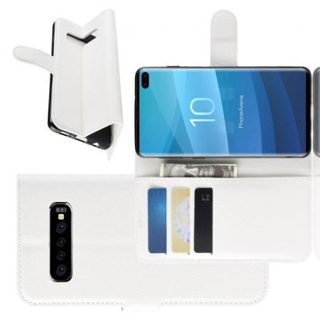 Флип чехол книжка с кошельком подставкой отделениями для карт и магнитной застежкой для Samsung Galaxy S10 Plus Белый