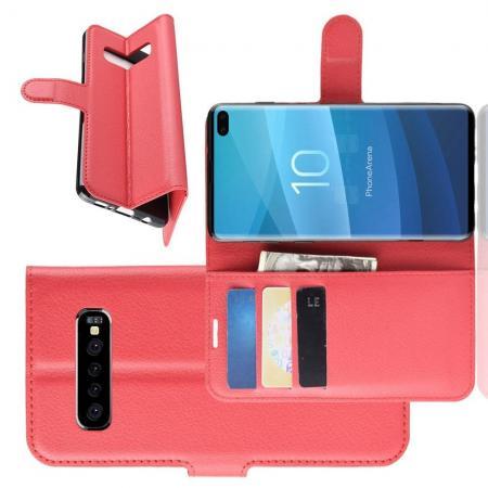 Флип чехол книжка с кошельком подставкой отделениями для карт и магнитной застежкой для Samsung Galaxy S10 Plus Красный
