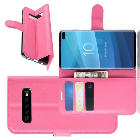 Флип чехол книжка с кошельком подставкой отделениями для карт и магнитной застежкой для Samsung Galaxy S10 Plus Розовый