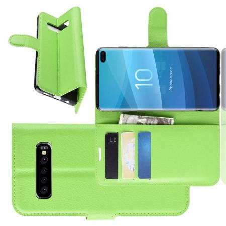 Флип чехол книжка с кошельком подставкой отделениями для карт и магнитной застежкой для Samsung Galaxy S10 Plus Зеленый