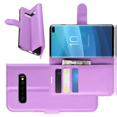 Флип чехол книжка с кошельком подставкой отделениями для карт и магнитной застежкой для Samsung Galaxy S10 Plus Фиолетовый