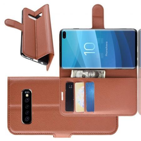 Флип чехол книжка с кошельком подставкой отделениями для карт и магнитной застежкой для Samsung Galaxy S10 Plus Коричневый
