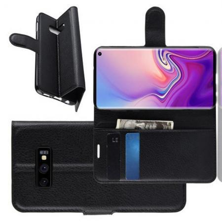 Флип чехол книжка с кошельком подставкой отделениями для карт и магнитной застежкой для Samsung Galaxy S10e Черный