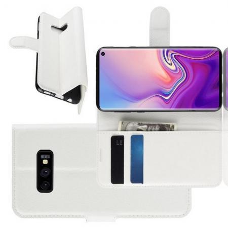 Флип чехол книжка с кошельком подставкой отделениями для карт и магнитной застежкой для Samsung Galaxy S10e Белый