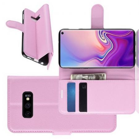 Флип чехол книжка с кошельком подставкой отделениями для карт и магнитной застежкой для Samsung Galaxy S10e Розовый