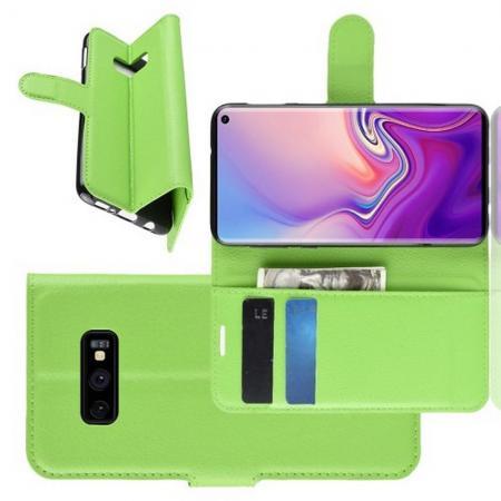 Флип чехол книжка с кошельком подставкой отделениями для карт и магнитной застежкой для Samsung Galaxy S10e Зеленый