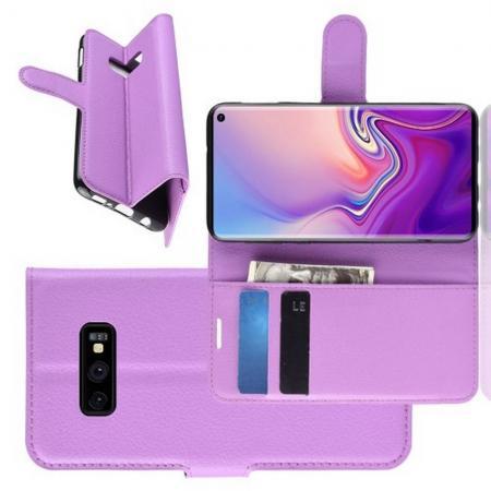 Флип чехол книжка с кошельком подставкой отделениями для карт и магнитной застежкой для Samsung Galaxy S10e Фиолетовый