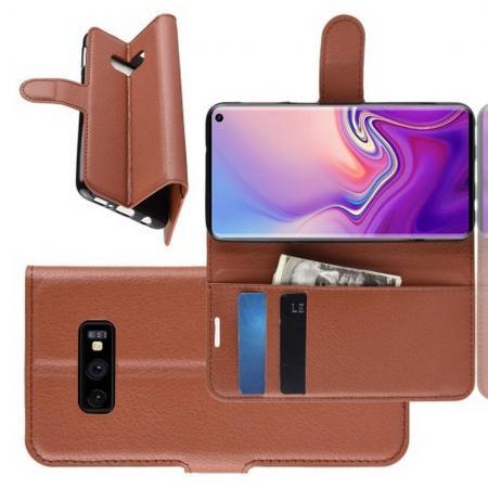 Флип чехол книжка с кошельком подставкой отделениями для карт и магнитной застежкой для Samsung Galaxy S10e Коричневый