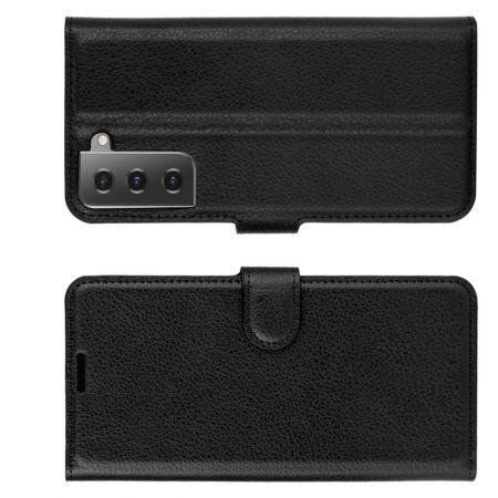 Флип чехол книжка с кошельком подставкой отделениями для карт и магнитной застежкой для Samsung Galaxy S21 Черный