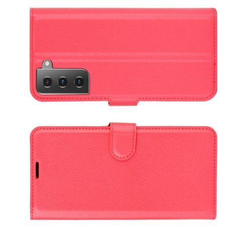 Флип чехол книжка с кошельком подставкой отделениями для карт и магнитной застежкой для Samsung Galaxy S21 Красный