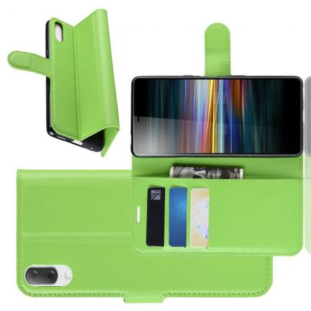 Флип чехол книжка с кошельком подставкой отделениями для карт и магнитной застежкой для Sony Xperia L3 Зеленый