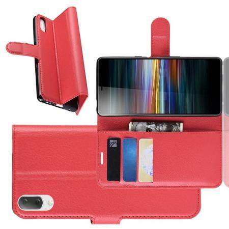 Флип чехол книжка с кошельком подставкой отделениями для карт и магнитной застежкой для Sony Xperia L3 Красный