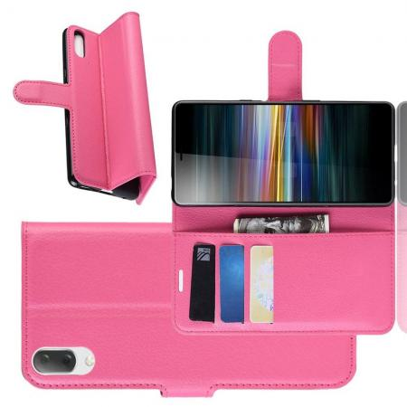 Флип чехол книжка с кошельком подставкой отделениями для карт и магнитной застежкой для Sony Xperia L3 Розовый
