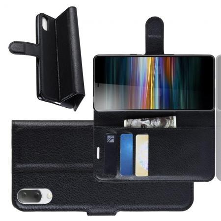 Флип чехол книжка с кошельком подставкой отделениями для карт и магнитной застежкой для Sony Xperia L3 Черный