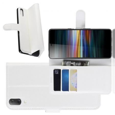 Флип чехол книжка с кошельком подставкой отделениями для карт и магнитной застежкой для Sony Xperia L3 Белый
