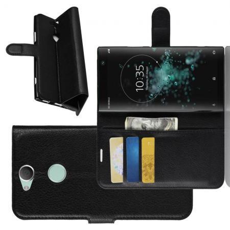 Флип чехол книжка с кошельком подставкой отделениями для карт и магнитной застежкой для Sony Xperia XA2 Plus Черный