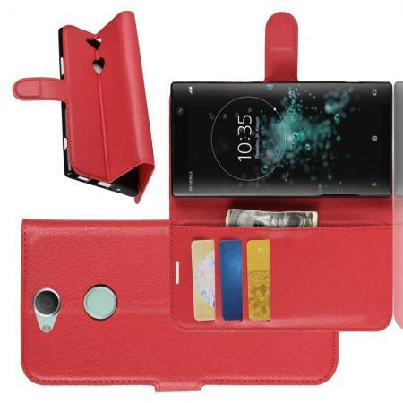 Флип чехол книжка с кошельком подставкой отделениями для карт и магнитной застежкой для Sony Xperia XA2 Plus Красный