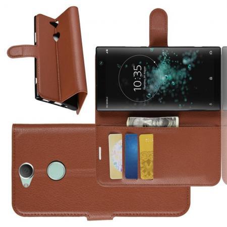 Флип чехол книжка с кошельком подставкой отделениями для карт и магнитной застежкой для Sony Xperia XA2 Plus Коричневый