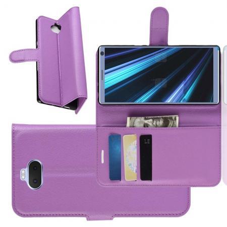 Флип чехол книжка с кошельком подставкой отделениями для карт и магнитной застежкой для Sony Xperia 10 Фиолетовый