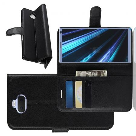 Флип чехол книжка с кошельком подставкой отделениями для карт и магнитной застежкой для Sony Xperia 10 Plus Черный