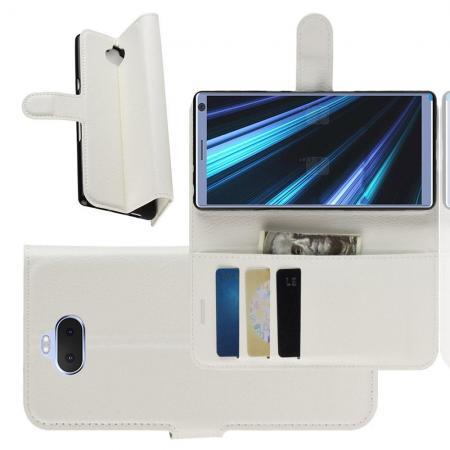 Флип чехол книжка с кошельком подставкой отделениями для карт и магнитной застежкой для Sony Xperia 10 Plus Белый