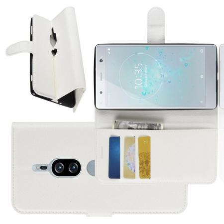 Флип чехол книжка с кошельком подставкой отделениями для карт и магнитной застежкой для Sony Xperia XZ2 Premium Белый