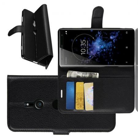 Флип чехол книжка с кошельком подставкой отделениями для карт и магнитной застежкой для Sony Xperia XZ3 Черный
