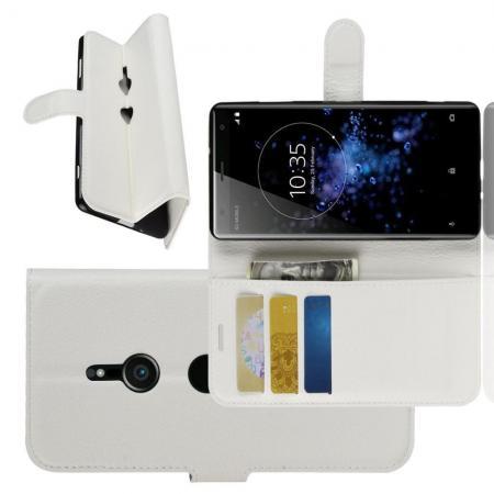 Флип чехол книжка с кошельком подставкой отделениями для карт и магнитной застежкой для Sony Xperia XZ3 Белый