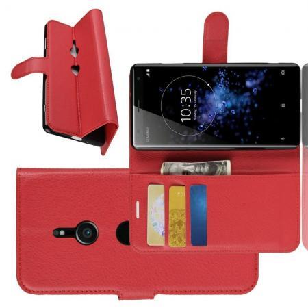 Флип чехол книжка с кошельком подставкой отделениями для карт и магнитной застежкой для Sony Xperia XZ3 Красный