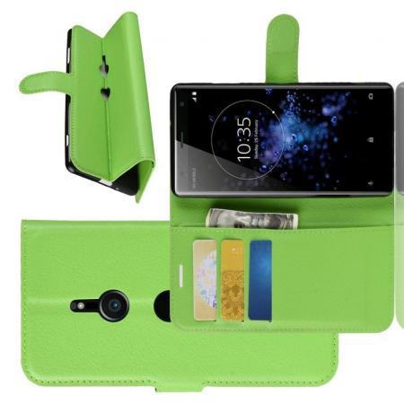 Флип чехол книжка с кошельком подставкой отделениями для карт и магнитной застежкой для Sony Xperia XZ3 Зеленый