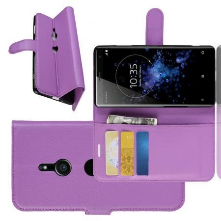 Флип чехол книжка с кошельком подставкой отделениями для карт и магнитной застежкой для Sony Xperia XZ3 Фиолетовый
