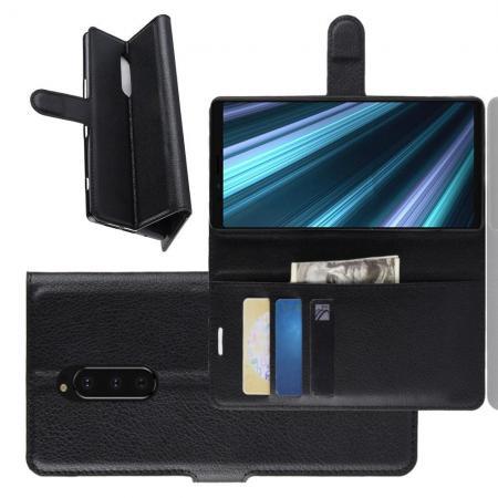 Флип чехол книжка с кошельком подставкой отделениями для карт и магнитной застежкой для Sony Xperia 1 Черный