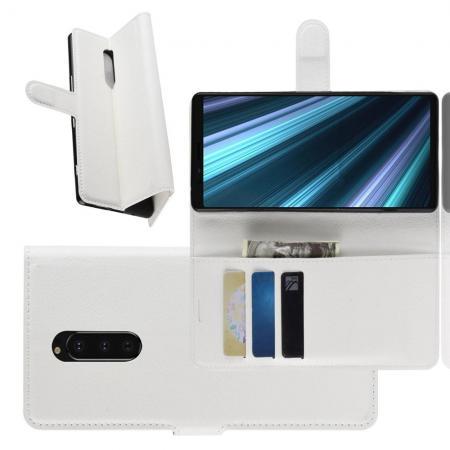 Флип чехол книжка с кошельком подставкой отделениями для карт и магнитной застежкой для Sony Xperia 1 Белый