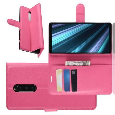Флип чехол книжка с кошельком подставкой отделениями для карт и магнитной застежкой для Sony Xperia 1 Розовый