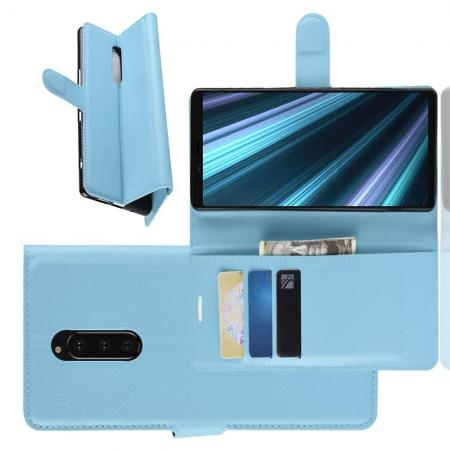 Флип чехол книжка с кошельком подставкой отделениями для карт и магнитной застежкой для Sony Xperia 1 Голубой
