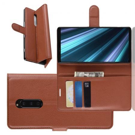 Флип чехол книжка с кошельком подставкой отделениями для карт и магнитной застежкой для Sony Xperia 1 Коричневый