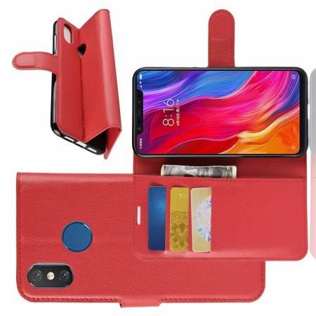 Флип чехол книжка с кошельком подставкой отделениями для карт и магнитной застежкой для Xiaomi Mi 8 Красный